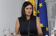 La ministra de Sanitat, Carmen Montón, ahir en roda de premsa.