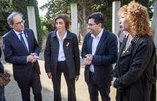 Torra, ayer con Pisarello y Vergés en el acto de Montjuic.