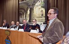 Josep Plana, adreçant-se ahir al públic a Guissona.