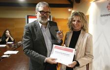 L'alcalde de Lleida, Fèlix Larrosa, i la primera tinent d'alcalde Montse Mínguez, durant la presentació del projecte de pressupostos per al 2019.