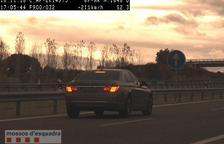 El turisme enxampat a 211 km/h per l'AP-2 a Puigverd de Lleida.