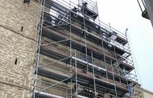 Retiran los andamios de la fachada de la iglesia de Montgai