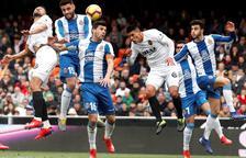 Treballat punt de l'Espanyol a Mestalla
