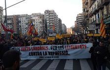 A punt de començar la manifestació unitària a Lleida.