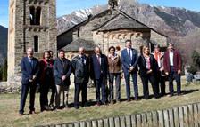 El president visitó el románico de La Vall de Boí y pudo ver el mapping de Sant Climent.