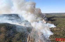 Una trentena de dotacions dels Bombers treballen en un incendi forestal a Maials