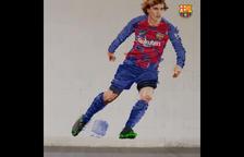 Un artista leridano realiza el anuncio del fichaje de Griezmann por el Barça