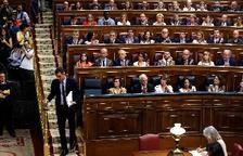 El candidato socialista a la Presidencia del Gobierno, Pedro Sánchez, momentos antes de su intervención