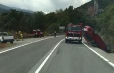 Espectacular accidente en la C-14 en Coll de Nargó