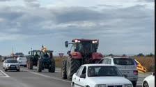 Marxa lenta de tractors des de Borges i Juneda per l'N-240