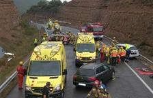 Dos muertos y siete heridos en una colisión múltiple en la carretera C-14 en Bassella