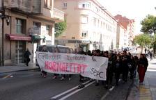 Un moment de la protesta d'estudiants aquest dijous.
