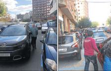 Dobles files a l'avinguda Sant Ruf