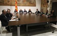 La taula de diàleg entre partits catalans reunida ahir per tercera vegada a la Generalitat.