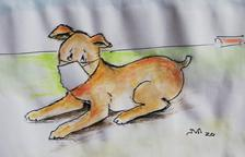 Vallverdú dibuja para los lectores de SEGRE a su popular personaje 'Rovelló' con mascarilla en tiempos de confinamiento