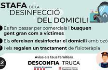 Un municipio de Lleida alerta de una estafa a personas mayores con una supuesta desinfección del domicilio