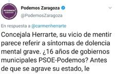 Podemos pide disculpas en Zaragoza por su tuit