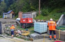 Primeros trabajos en el depósito de agua potable de Vielha.