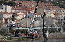 La CHE retira troncs de la zona de regates a Mequinensa