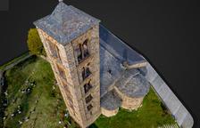 La visita virtual permite sobrevolar Sant Climent de Taüll gracias a imágenes captadas con drones.