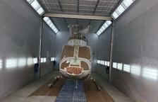 Taller de pintura per a helicòpters a la Seu