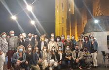 Foto de família dels participants en el sopar d'homenatge al restaurant La Sibil·la.