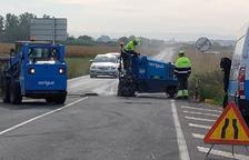 Obras de mejora en la carretera que une Térmens y Bellvís