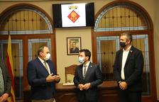 IMATGES   El president de la Generalitat Pere Aragonès, a la inauguració de la plaça en record de les víctimes del nazisme de Juneda