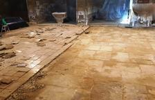 Linyola recupera el enlosado original de la iglesia local