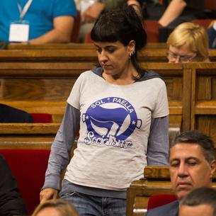 L'exdiputada de la CUP Anna Gabriel, durant un ple al Parlament de Catalunya.