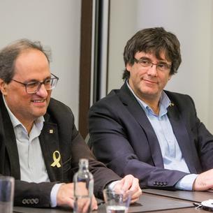 Torra i Puigdemont a la reunió a l'hotel Marivaux de Brussel·les, a Bèlgica.