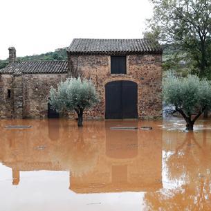 Una zona inundada cerca del río Argens.