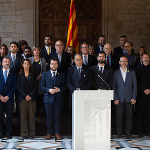 Torra, Aragonès, Torrent, consellers, expresidentes del Parlament, el expresident Mas, entre otros, ayer.