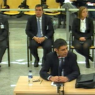 El exmajor de los Mossos Josep Lluís Trapero, ayer, durante la parte final de su interrogatorio en la Audiencia Nacional.