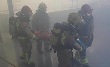 Simulacre d'incendi als pavellons firals de Mollerussa