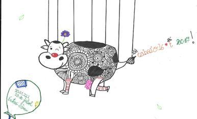 La Júlia de 10 anys ha dibuixat una vaca que fa de pallassa preparada per veure l'Esbaiola't carregat d'espectacles.