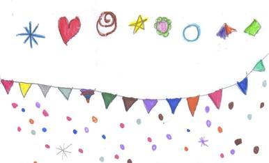 La vaca del festival Esbaiola't està de Festa, música, un pastís i confetis de colors