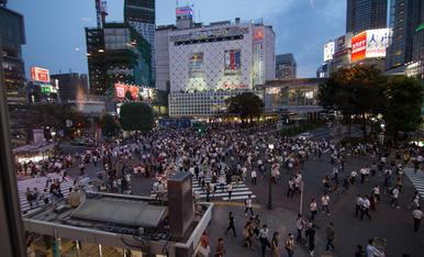 8.TOKIO  cruce de Shibuya donde cada vez que los semáforos cambian de color cruzan aproximadamente unas mil personas que vienen de todas direcciones y sin tropiezos