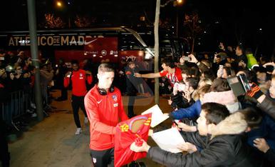 Arribada dels jugadors de l'Atlètic de Madrid a Lleida