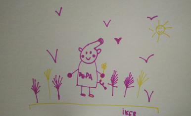 L'íker té 5 anys i ha dibuixat la Pepa Pig i plomes de colors