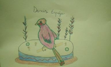 El Denís té 8 anys i és de Balaguer. Ha dibuixat una mona amb un ocell. (Tlf.670085405)