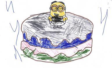 L'Alex M.A. de 3 anys ha pintat la mona que vol que la tieta Núria li regali. Així que aquesta és l'obra col·laborativa que tots dos han fet.