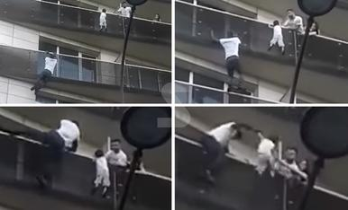 © L''Spiderman' de París salva un nen