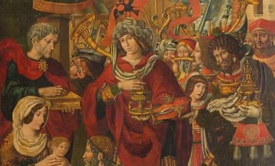 La  'Adoración de los Reyes Magos' es un óleo sobre tabla de pino de 155,5 por 130,5 centímetros.