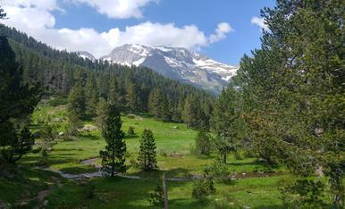 Restes de neu resistint al calor als cims més alts del voltant del Parc Natural de Posets-Maladeta a la Vall d'Estós