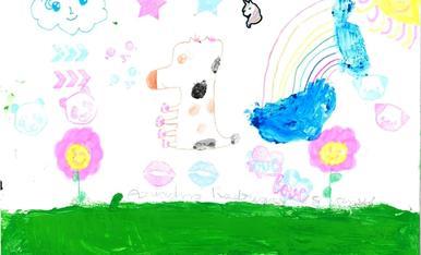 Bon dia. El meu nom es Victor Rodriguez i us envio el dibuix de la meva filla Ariadna Rodriguez de 8 anys. La Ariadna ha dibuixat la vaca de l'Esbaiolat molt colorida volant pels prats d'Esterri. Salutacions.