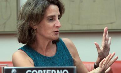 La ministra para la Transición Ecológica, Teresa Ribera, durante su comparecencia de ayer.