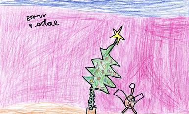 En Roger s'imagina la seva soca junt a l'arbre de Nadal! ( 5 anys) Almenar