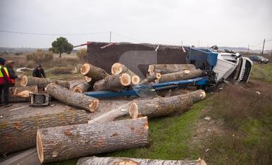 © Vuelca un camión cargado de troncos en Tàrrega