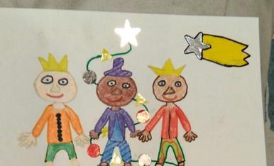 La Gemma de 10 anys ha dibuixat els Reis ,el tronc i l'arbre amb el seu desig de salut per a tothom.